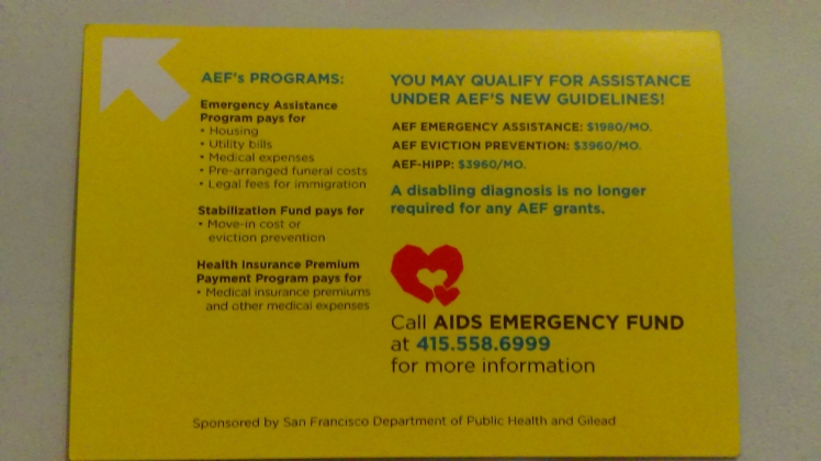 AIDS Emergency Fund Flyer Back